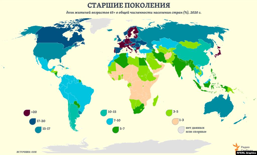 В странах Европы и Северной Америки к 2050 году, по текущим прогнозам ООН, доля жителей старших возрастов (65+) превысит 26%. Почти 24% она составит в странах Восточной и Юго-Восточной Азии. 23% - в Австралии и Новой Зеландии. В странах Латинской Америки – 19%.